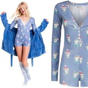 Wild fox Christmas Romper Pajamas XS Reindeer